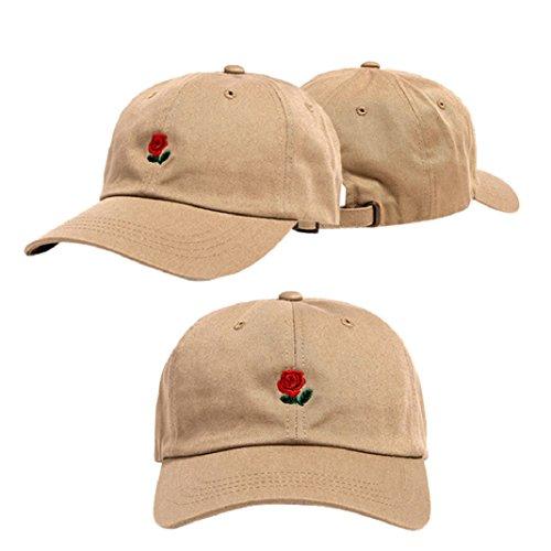 URSING Unisex Rose Stickerei weich Baumwolle Baseballmütze Snapback Hip Hop Flachen Hut Atmungsaktiv Baseball Caps Retro Sport Mütze Sommer Kappe für Jungen Mädchen (Khaki)