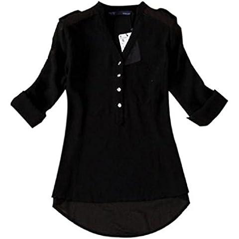GillBerry Mujer 1 PC V-cuello de la gasa de la camisa de manga larga blusa ocasional