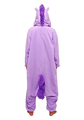 Unicorn Costume Adult Animal Jumpsuits Pajamas Animal Unicorn Jumpsuit Sleepwear Unisex Cosplay Costume for Women and Men Violett