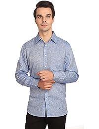 Reevolution Men's Self Design Blue Linen Shirt (MLFS310332)
