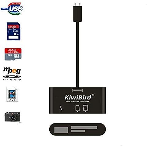 KiwiBird® NUEVO OTG Micro USB 3-en-1 kit de conexión de cámara | Lector / MMC TF (Micro SD) / SD | Micro USB al adaptador de cable USB hembra para Samsung Galaxy S6/S6E/Alpha/S5/S4/S3/S2 (NO es compatible con S5/S4/S3 Mini, Activa y Sport), Note Edge/4/3/2/Pro/10.1/8.0 (2014 edición), la mayoría de Galaxy Tab series tablets, LG G4/G3/G2/G1/G Pro 1/2, Sony Xperia Z3/Z2/Z1/M2, HTC one M9/M8, Google Nexus 5/6/7/9/10 ... y otros OTG compatible Android smartphones y tablets [garantía de 12