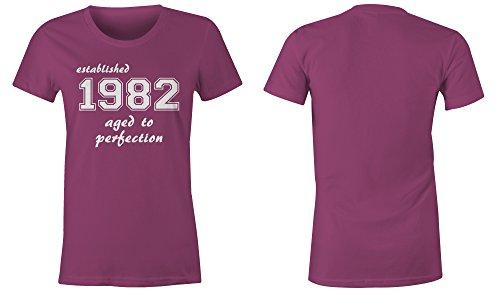 Established 1982 aged to perfection ★ Rundhals-T-Shirt Frauen-Damen ★ hochwertig bedruckt mit lustigem Spruch ★ Die perfekte Geschenk-Idee (07) pink