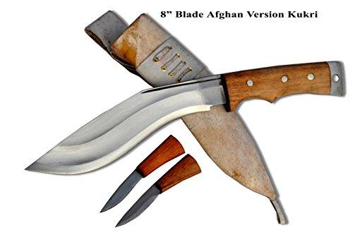 Echtes Gurkha Kukri Messer -20,30 cm (8 zoll) lange klinge Gurkha afghanisch Fassung buschmesser messer - hochglanzpoliert,hochgradig benotet kohlenstoffstahl,weißes holz griff, durchgehendem Erl,natürliche weiße lederscheide, Schwerlast buschmesser, gesamtlänge 33 cm (13 zoll) mit griff. Handgefertigt durch GK&CO.Kukri Haus Fabrik im Nepal