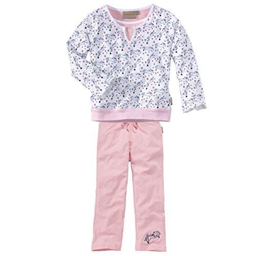 wellyou, Kinder-Schlafanzug, Langarm, für Mädchen, mit Pferde-Motiv, in rosa/weiß, Größe 104-110