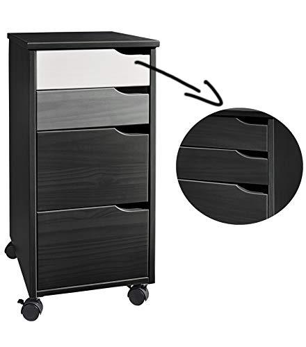 Rollcontainer aus Kiefer-Massivholz mit 4 Schubladen lackiert, 66 cm hoch, mit 2 zusätzlichen Schubladenfronten, Büroschrank, Schubladenschrank -
