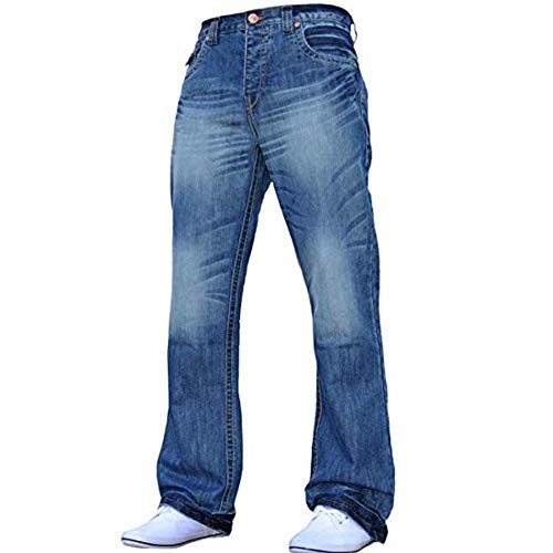 Button-fly Flap Pocket Jeans (Enzo Mens Neue A42 Designer Bootcut Jeans Lightwash Jeans W32- L34)