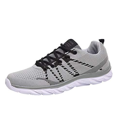 Fenverk Herren Damen Sneaker Straßenlaufschuhe Sportschuhe Turnschuhe Outdoor Leichtgewichts Laufschuhe Freizeit Atmungsaktive Fitness Schuhe EU39-47(Grau,45 EU)