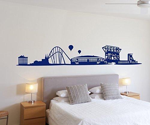 Arte Della Parete Gelsenkirchen Skyline Stadio Calcio città Autoadesivo Parete Adesivo Quadro su tela 1M 073 - Royal Blue Opaco,