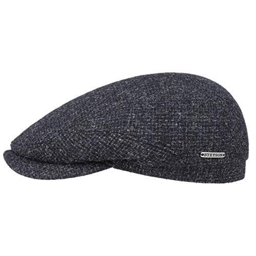 Stetson Belfast Tweed Flatcap | Schiebermütze Herren | Schirmmütze aus Wolle | Wintercap mit Baumwollinnenfutter | Wollcap Herbst/Winter | Herrenkappe blau 60 cm