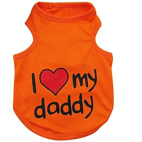 Bleu pour Chien Summer Pet vêtements pour homme Motif Lovely Sweetheart Gilet Chemises T pour femme Taille S