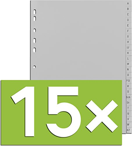 Durable Register A -Z, DIN A4, Grau, PP, Universallochung, 24-teilig (Grau, 15er Pack)
