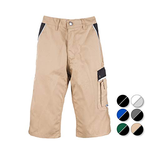 TMG® Pantalon Corto Trabajo Hombre Resistente | Pantalones de Trabajo de Hombre | para carpinteros, ebanistas, albañiles | Caqui | 48