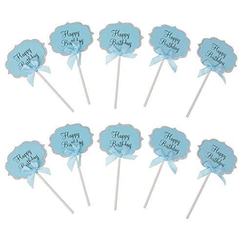 Fliyeong DIY Cupcake Topper Papier Kuchen Dekoration Backen Topper Dessert Dekoration für Party Hochzeit Verwenden 10 Stücke Blau Hochzeits-kuchen-dessert