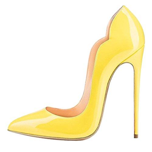 ENMAYER Femmes en Cuir Verni Haut Talon Robe Pompes Pointues Bureau Chaussures Stiletto Court Chaussures Plus Grande Taille Janue