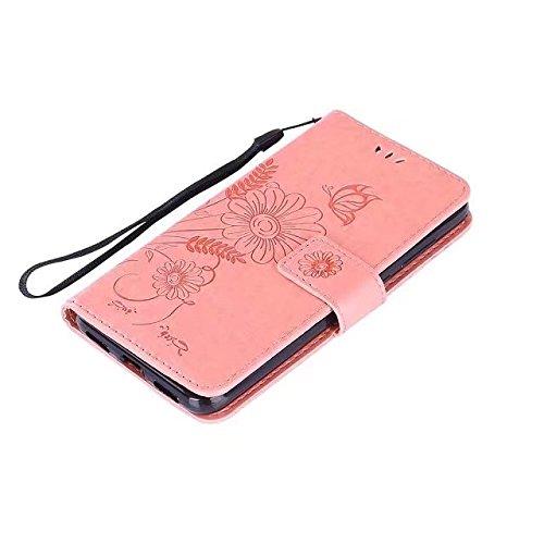 Premium PU Leder Folio Stand Case, Solid Farbe prägeartig Blumen Stil Schutzhülle Tasche Tasche mit Lanyard & Card Slots für Huawei P8 Mini 2017 (P8 Lite 2017) ( Color : Green ) Pink