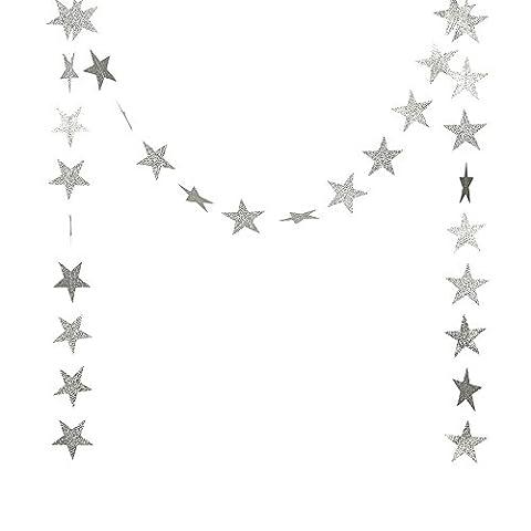 DoTech Or Étoile Guirlande Bruant, Guirlande de Pentacle Etoile en Papier Hanging pour Décoration Maison Xmas Fête Mariage - 2 paquets (Poudre