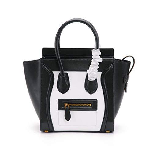 Rindsleder Star Modelle Smiley Gesicht Flügel weibliche Tasche tragbare Leder Hit Farbe Big Bag Messenger Bag Schultertasche (black, 26 * 15.5 * 26cm)