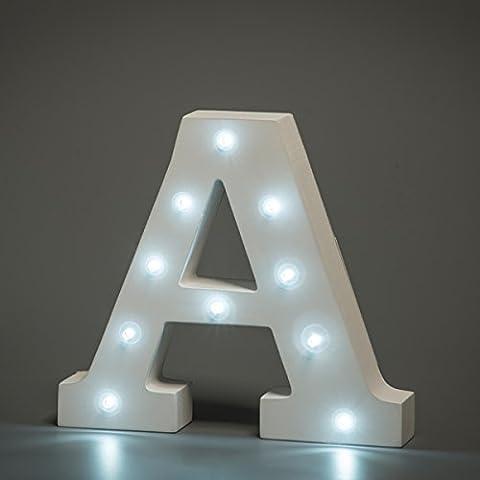 En Luces Decorativas LED, diseño de alfabeto de madera en color blanco letras–Letra a