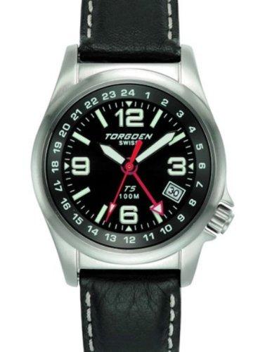 Torgoen -T05501 - Montre d'aviateur Femme - Quartz analogique - Bracelet en Cuir noir