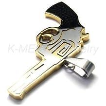 Acero inoxidable Collar oro pistola Mens 10018296