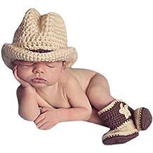 Happy Cherry - Disfraz Traje del Estilo Vaquero para Fotografía Memorable de Bebé Ropa Apoyo de Foto para Recién Nacido 3-4 Meses