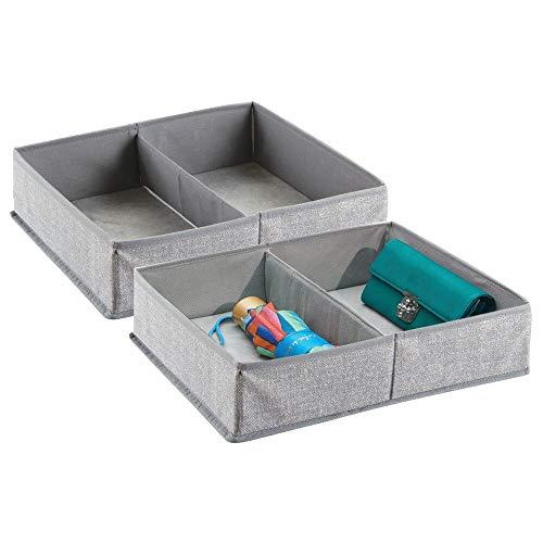 2 Schublade Schrank Organizer (mDesign 2er-Set Stoffbox für Schrank oder Schublade, 2 Fächer - die ideale Aufbewahrungsbox (Stoff) - flexibel verwendbare Stoffkiste - grau)