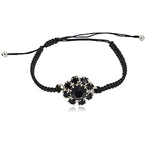 Rosaspina Firenze, bracciale macramè con fiore in cristallo, Nero