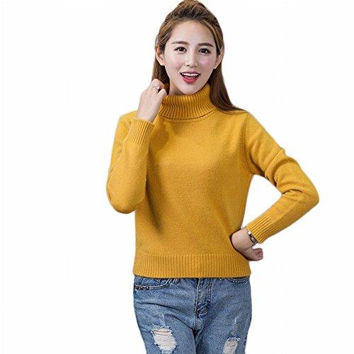Good dress Kaschmirpullover Dicken Pullover Frauen Kurze Hoch- Strickpullover Reine Farbe Mode Primer Shirt , Ingwer , XL