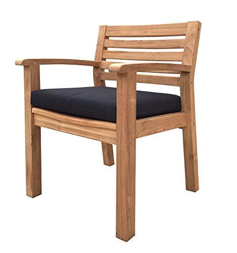Grasekamp Teak Gartenstuhl mit Auflage Anthrazit Sessel Stuhl Gartenmöbel