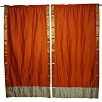 Mogul Interior 2 Indian Sari Curtain Drape Panel Orange Window Treatment Brocade Border Home Decor