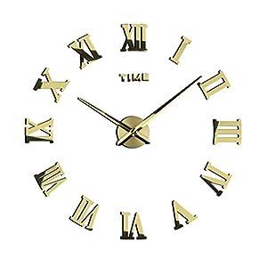 Homyl Römische Ziffern 3D Wand Uhr Classical Wohnzimmer Wanduhr DIY Haus Deko Spiegel Wandtatto – Gold