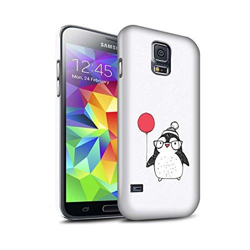 Stuff4® Matte Snap-On Hülle/Case für Samsung Galaxy S5 Neo/G903 / Ballon & Brille Muster/Süßer Doodle Pinguin Kollektion