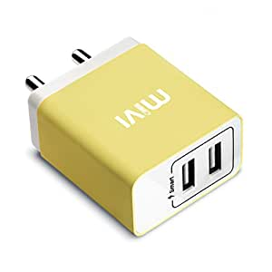 Mivi 3.1A Dual Port Smart Wall Charge Adapter With In-Built Auto-Detect Technology For All Smartphones (Yellow)