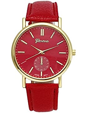 Covermason Unisex Herren Damen Quarz Armbanduhr Uhr Leder Band Runde Sache Analog (Rot)