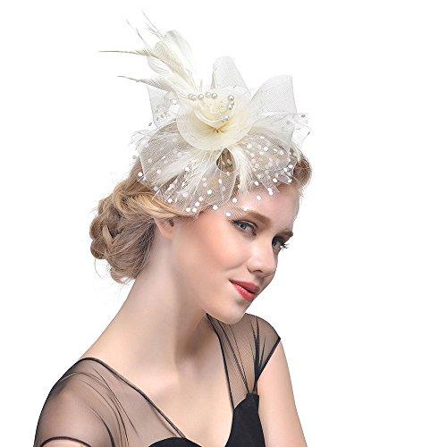 Fascinators Hut 1920er Jahre Zubehör Damen Stirnband Blume Mesh Bänder Federn mit Perle Cocktail Tea Tanzparty Party Retro Headwear Party Accessoires(Khaki)