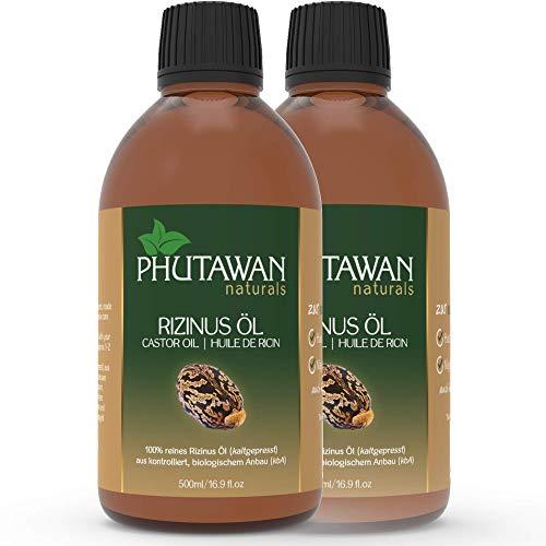 Phutawan Rizinusöl kaltgepresst 1000ml aus kontrolliert bio-logischem Anbau (kbA) - natürliches Öl vegan und gentechnikfrei, ideal für Haut, Wimpern, Augenbrauen, Haar & Nägel
