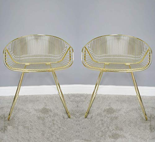 Generic Stühle, rund, elektroplattiert, Metall, 1 Paar, Gold, 73x58x48cm -