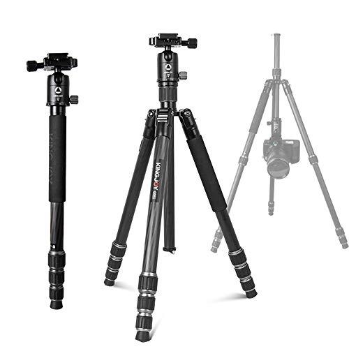 MCJL Tragbares Kohlefaser-Stativ, Monopod-Kit mit 3D-Kugelkopf inklusive Schnellverschluss für Digitalkameras und Camcorder (schwarz)