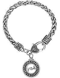 Pulsera de eslabones de estilo vikingo para protección rúnica con el símbolo Wolfsangel