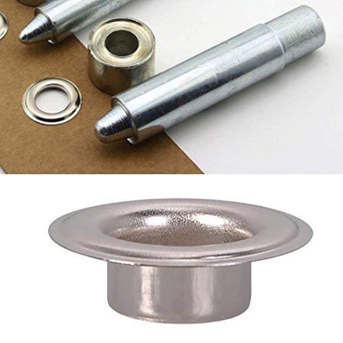 3er Pack: Stanzen-Set, Lochstanzen und 100 Stück Silber-Ösen (4 mm) - Ösen-Setzwerkzeug-Kit für Kleidung, Lederwaren und Scrapbooking–inklusive Unterlegringe -
