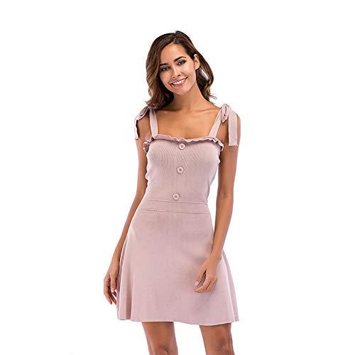 WODENINEK Sommer Mini Schlinge Kleid Rüschen Einfarbig Sexy Von Der Schulter Einstellbar Gurt Kurzes Kleid Zum Frau,Pink,M (Kleid Pink Frau)