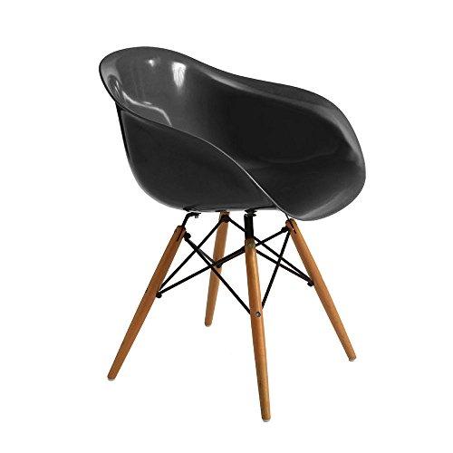 - Senza marca/Generico - Chaise Fauteuil en Plastique avec Jambes Bois Ameublement Design Maison Ameublement Opal Noir