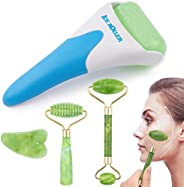 EAONE 4 in 1 Ice Roller Jade Roller Eyes Facial Massage Kits Cold Freezer Therapy Instant Pain Relief Wrinkle Preventing Coo