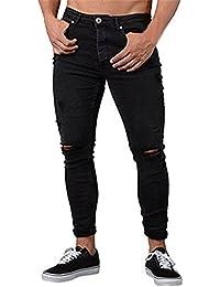 Pantalones para Hombre,Moda Hombres Flacos Pantalones de Mezclilla Estiramiento desgarrado arrancó Freyd Deportivos Slim