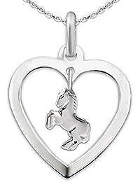 CLEVER SCHMUCK-SET Silberner Anhänger Herz mit Einhänger keines Pferd springend und Kette Anker 40 cm STERLING SILBER 925