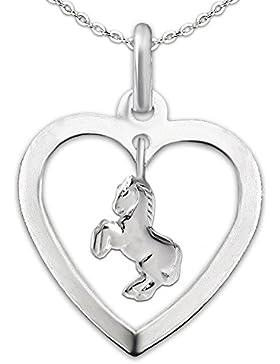 CLEVER SCHMUCK-SET Silberner Anhänger Herz mit Einhänger keines Pferd springend und Kette Anker 40 cm STERLING...