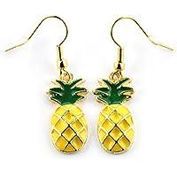 """SCHMUCKZUCKER Damen Ohrhänger """"Ananas"""" witzige Modeschmuck Ohrringe gold-farben gelb grün"""