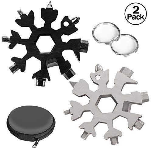 Aitsite Multi herramienta copo de nieve Tarjeta de la herramienta del copo de nieve Destornillador multi-herramienta de acero Llavero Abrebotellas Tarjeta (Negro+Plata)