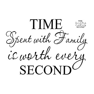 Mintime Wall Decor Sticker DIY Art Character Wall Decal Sticker Clock for Living Room House Bedroom Kichen TIME Spent with Family is Worth Every Second