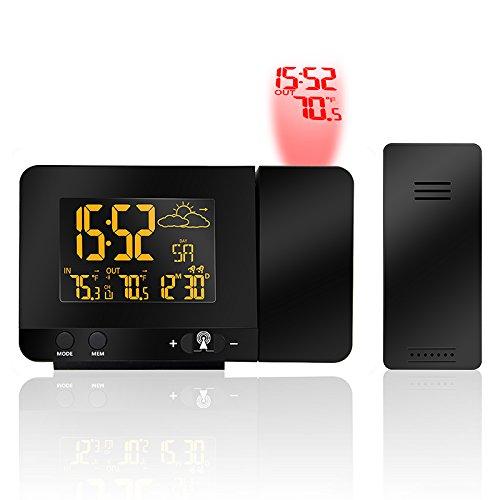 HXUJ UE y EE. UU. Enchufe 433MHz Opcional Teléfono de Carga Proyección Digital Despertador Estación...